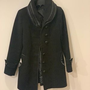 Wool jacket, winter coat, black leather buttons